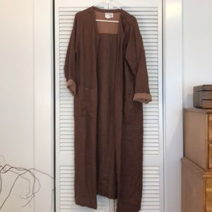 Eileen Fisher long brown linen coat made in USA